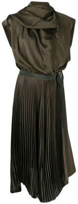 Sacai Contrast Panel Pleat Detail Dress