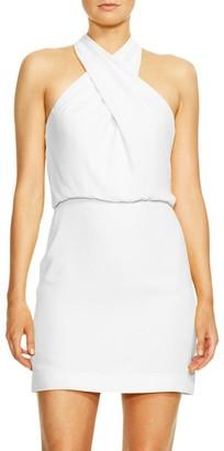 Halston Sleeveless Crossover Halter Sheath Dress