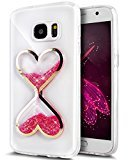 Urberry S7 Edge Running Glitter Cover, Creative Design Flowing Liquid Floating Luxury Bling Glitter Sparkle Hard Case for Samsung Galaxy S7 Edge with a Screen Protector (Hot pink)