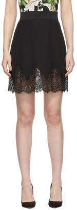 Dolce & Gabbana Black Crepe Lace Miniskirt