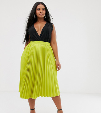 Outrageous Fortune Plus pleated midi skirt in lime-Green