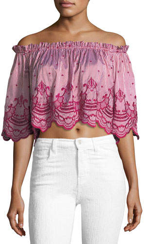 Alexis Ellis Off-the-Shoulder Gingham-Print Crop Top with Embroidery