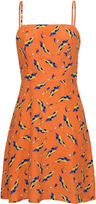 HVN Nora Printed Bias-Cut Silk Mini Dress