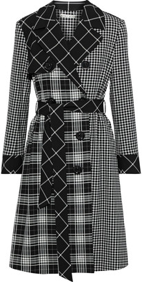 Alice + Olivia Timpson Paneled Checked Twill Trench Coat