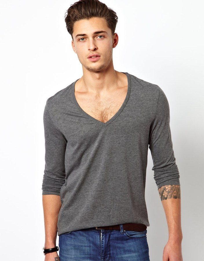 Asos Long Sleeve T-Shirt With Deep V Neck
