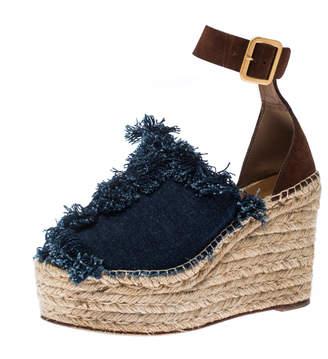 Chloé Blue Denim/Suede Fringe Ankle Strap Wedge Platform Espadrille Sandals Size 39