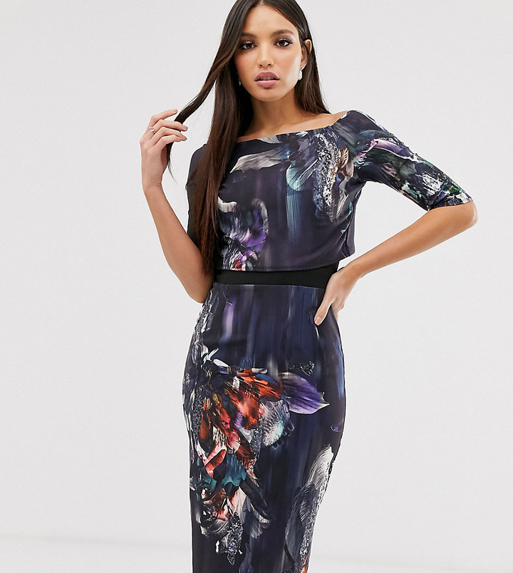 Little Mistress Tall three quarter sleeve floral print pencil midi dress