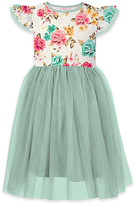 Orchid Lane Girls' Special Occasion Dresses - Cream & Turquoise Floral Ruffle-Accent A-Line Dress - Toddler & Girls