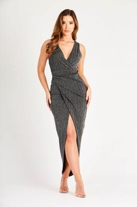 Skirt & Stiletto Metallic Black and Silver Sleeveless Wrap Dress