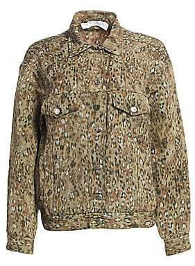 IRO Women's Empathy Leopard Oversized Jean Jacket