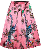 Gucci Pleated Printed Silk-satin Midi Skirt - Pink
