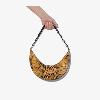 REJINA PYO Brown Banana Snake Print Leather Shoulder Bag