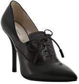 black leather pointed toe oxford pumps