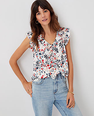 Ann Taylor Floral V-Neck Ruffle Shell Top