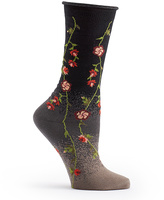 Ozone Black Tibetan Flowers Socks