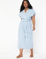 ELOQUII Linen Cropped Jumpsuit