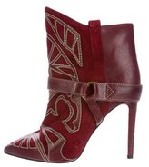 Isabel Marant Embroidered Suede Ankle Boots
