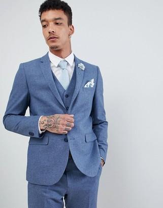 Harry Brown Wedding Wool Blend Blue Donegal Slim Fit Jacket