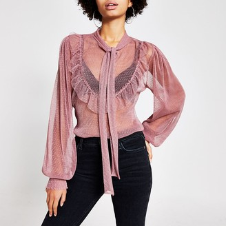 River Island Pink sheer mesh tie neck frill blouse