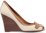 Tory Burch Amanda leather-trimmed canvas wedge pumps
