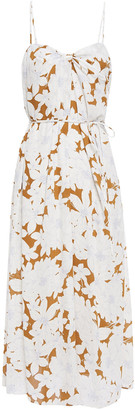 Vince Belted Twist-front Floral-print Crepe Midi Dress