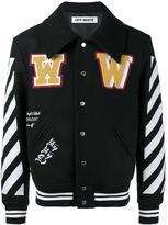 Off-White striped sleeves varsity jacket