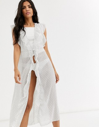 Cotton On ruffle gown in spot print