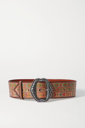 Etro Printed Leather Belt - Beige