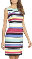 Tahari Petite Women's Stripe Linen Blend Sheath Dress
