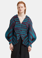 Issey Miyake Aurora Oval Three-Dimensional Cardigan in Burgundy and Turquoise