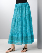Aqua Printed Gauze Long Skirt