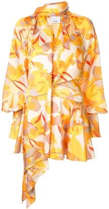Acler Bradley draped abstract-print dress