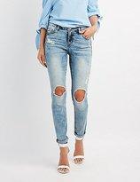 Light Wash Destroyed Jeans - ShopStyle