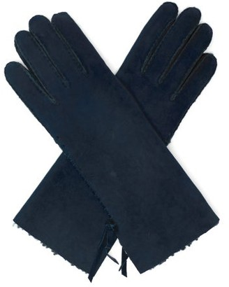 Agnelle Mia Whipstitched Shearling-lined Leather Gloves - Navy