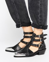 Asos ARCTIC Leather Western Cut Out Boots