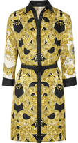 Versace Belted Printed Silk-twill Mini Dress - Gold