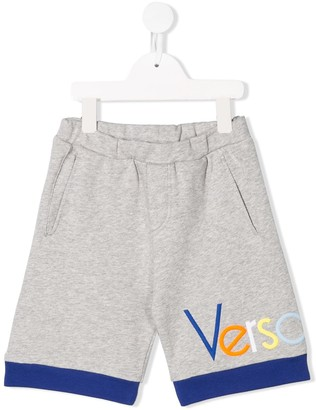 Versace TEEN logo track shorts