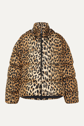 BALENCIAGA - C-shape Hooded Leopard-print Quilted Shell Jacket - Animal print
