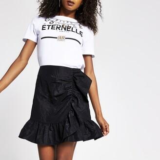 River Island Womens Black taffeta frill mini skirt