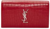 Saint Laurent Red Croc-Embossed Monogram Kate Clutch