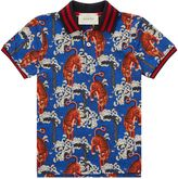 Gucci Tiger Print Piqué Polo Shirt