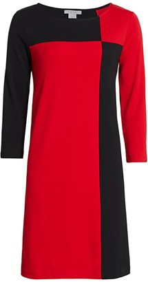 Joan Vass Colorblock Three-Quarter Sleeve Dress
