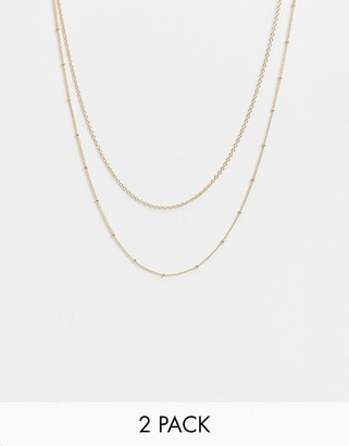 Accessorize pack of 2 chain necklaces in gold