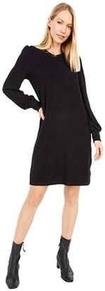 Lucky Brand Cozy Knit Rib Sleeve Dress (Lucky Black) Women's Clothing