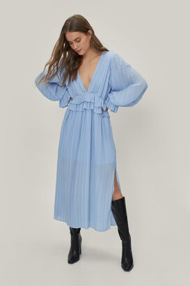 Nasty Gal Womens Frill in Love V-Neck Maxi Dress - Cornflower Blue