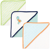 Luvable Friends 30'' x 30'' Blue & Green Geo Dinosaur Hooded Towel - Set of Three