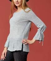 Selection Women's Pullover Sweaters LT.GREY - Light Gray Ruffle-Sleeve Sweater - Women