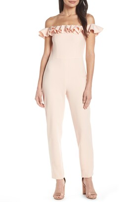 French Connection Off the Shoulder Ruffle Jumpsuit