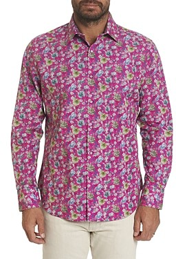 Robert Graham Bowmont Gardens Cotton Stretch Floral Print Classic Fit Button Up Shirt