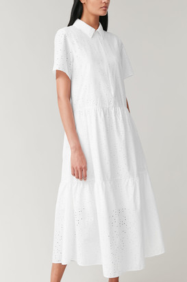 Cos Embroidered Dress With Gathered Panels